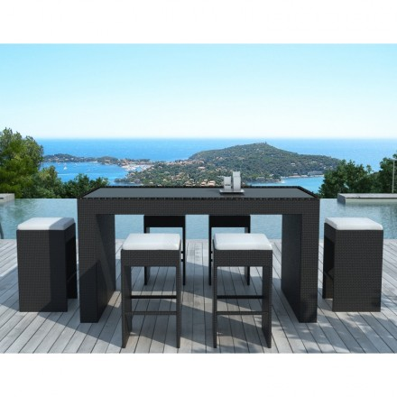 Muebles bar y 6 taburetes de jardín PORTO en resina tejida (negros, blanco/crudo cojines)