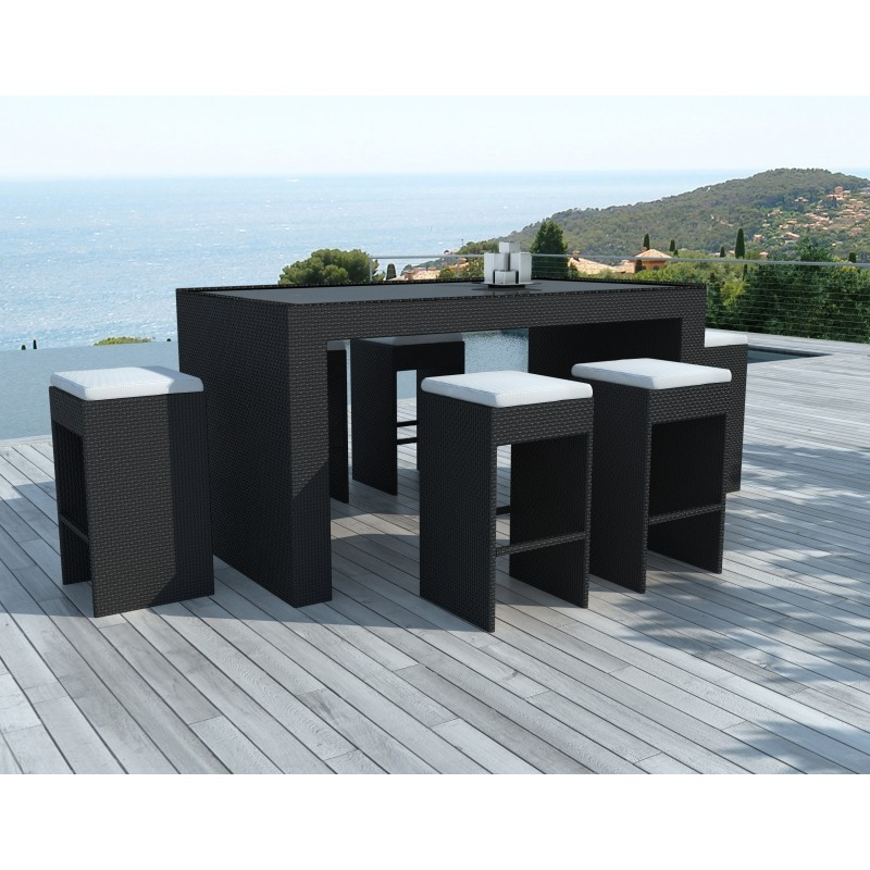 meuble bar et 6 tabourets de jardin porto en r sine tress e noir coussins blanc cru. Black Bedroom Furniture Sets. Home Design Ideas