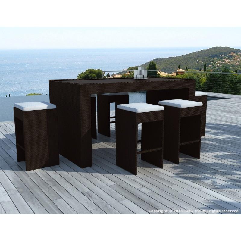 Meuble bar et 6 tabourets de jardin PORTO en résine tressée (marron, coussins blanc/écru) - image 29905