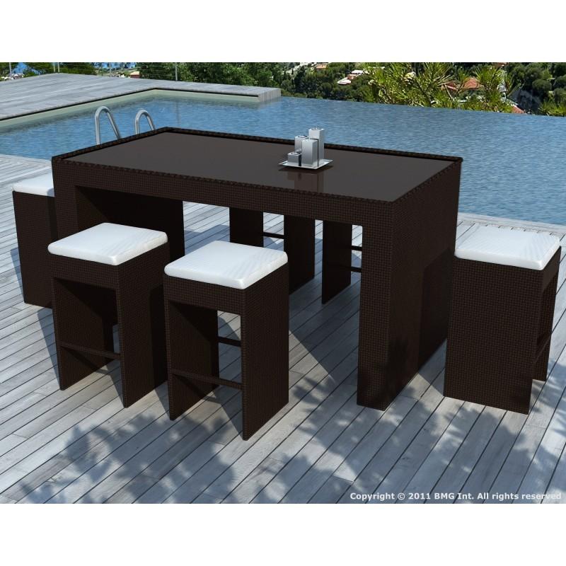meuble bar et 6 tabourets de jardin porto en r sine tress e marron coussins blanc cru. Black Bedroom Furniture Sets. Home Design Ideas