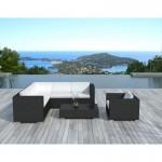 Resina de LAGOS tejido muebles de jardín 6 plazas (negros, blanco/crudo cojines)