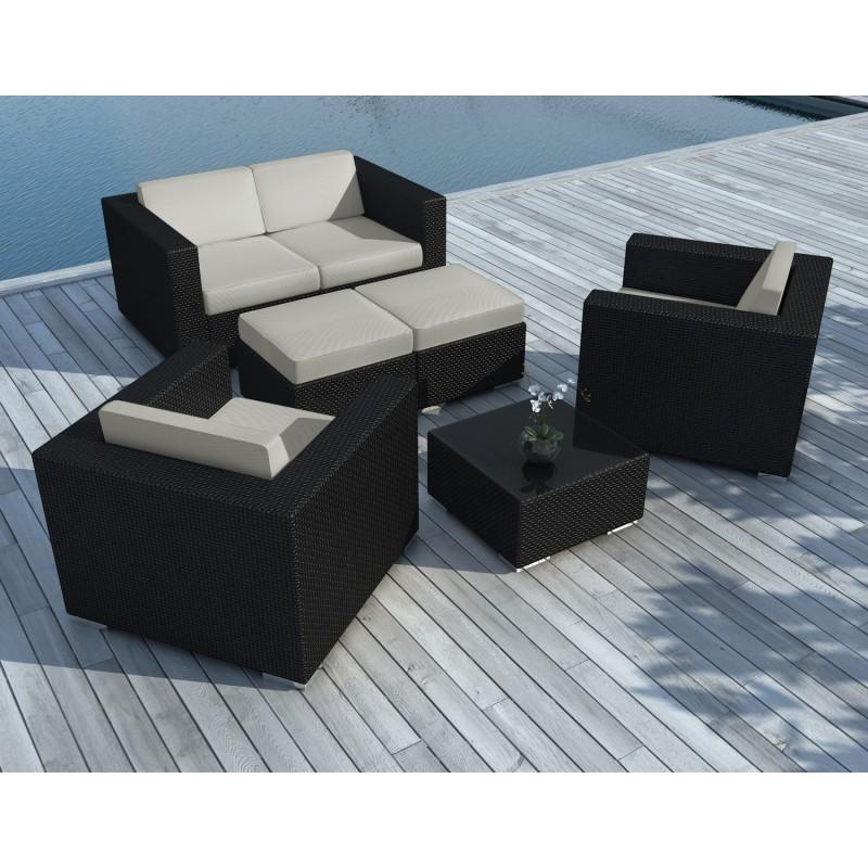 Salon de jardin 6 places KUMBA en résine tressée (noir, coussins gris) - image 29921