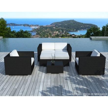 Garden furniture 6 seater KUMBA woven resin (black, white/ecru cushions)