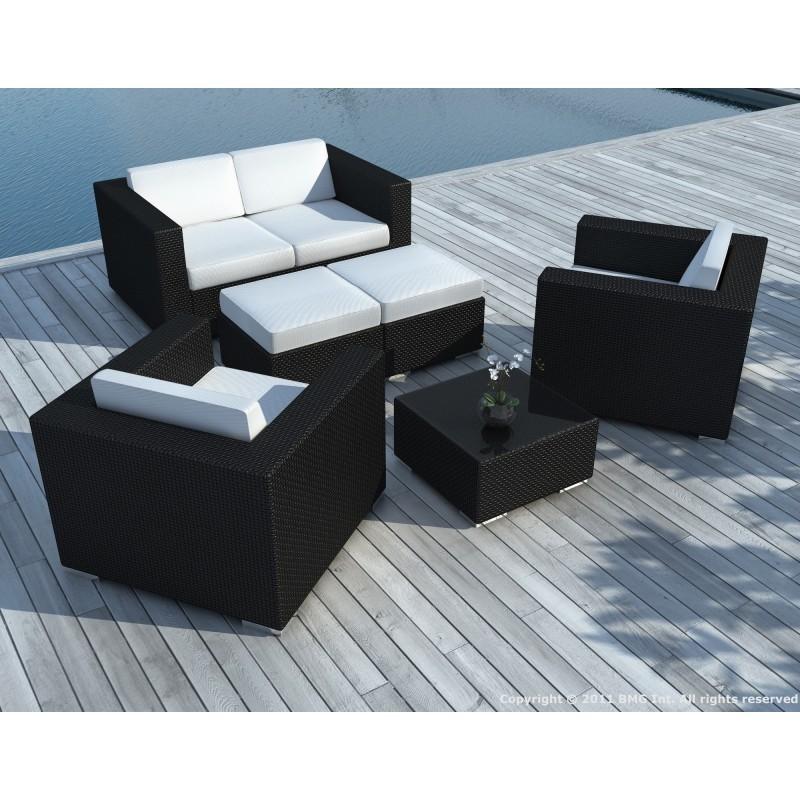 Salon de jardin 6 places KUMBA en résine tressée (noir, coussins blanc/écru) - image 29925