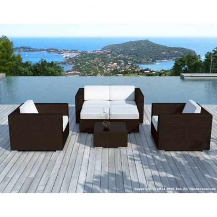 Resina de muebles de jardín 6 plazas KUMBA trenzado (cojines blanco/crudo, marrón)