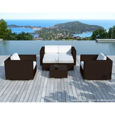Garden furniture 6 seater KUMBA resin braided (Brown, white/ecru cushions)