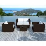 Resina di mobili da giardino 6 posti KUMBA intrecciato (marrone, bianco/ecru cuscini)