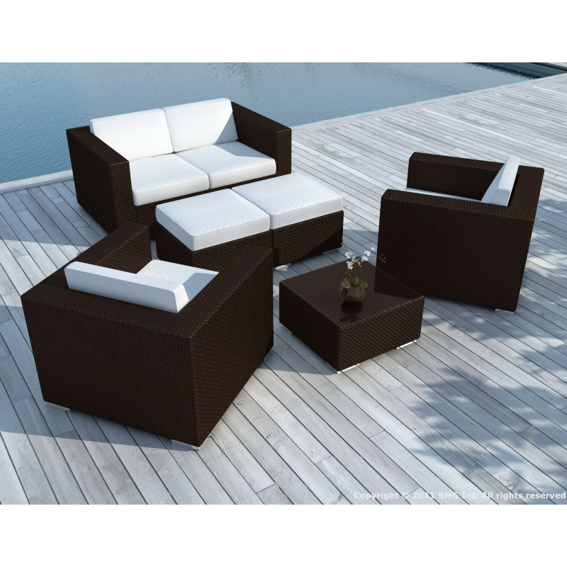 Salon de jardin 6 places KUMBA en résine tressée (marron, coussins blanc/écru) - image 29937