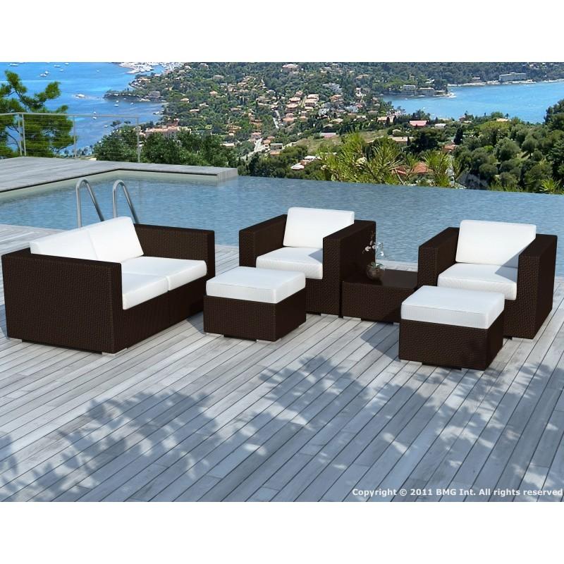 Salon de jardin 6 places KUMBA en résine tressée (marron, coussins blanc/écru) - image 29938