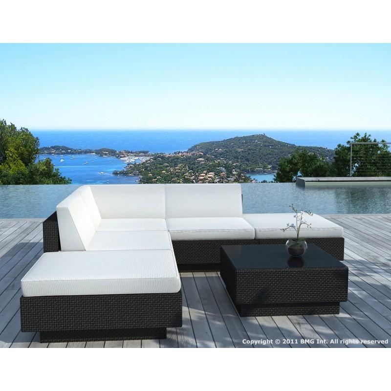 Salon de jardin d'angle 5 places VALENCE en résine tressée (noir, coussins blanc/écru) - image 29940