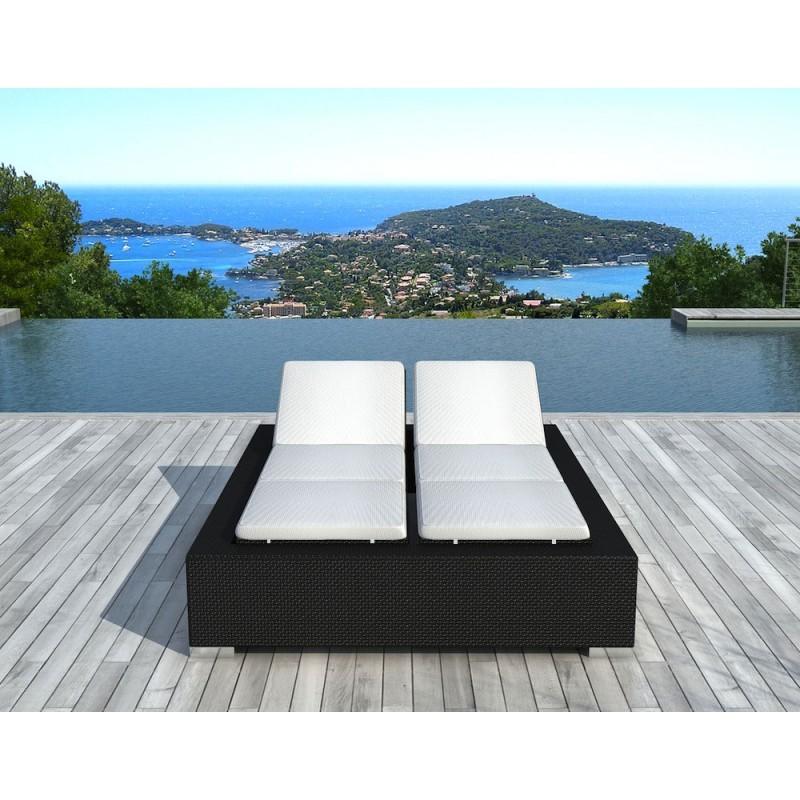 Sunbathing sunbed 2 seater 5 positions Cadiz in woven resin (black, white/off-white) - image 29944