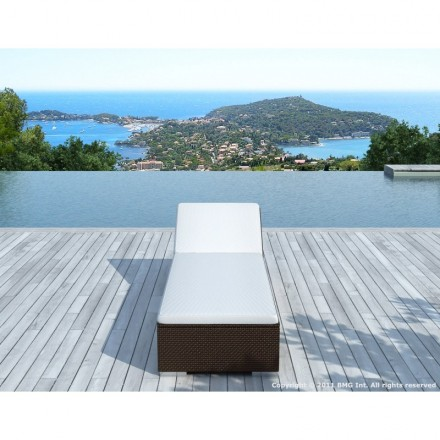Sunbathing sunbed 5 positions CORDOBA in woven resin (Brown, white/off-white)