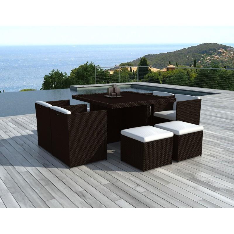 Salon de jardin 8 places encastrable UBEDA en résine tressée (marron, coussins blanc/écru) - image 29961