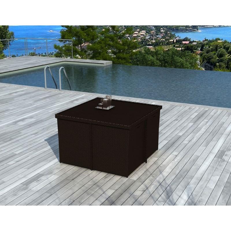 Salon de jardin 8 places encastrable UBEDA en résine tressée (marron, coussins blanc/écru) - image 29962