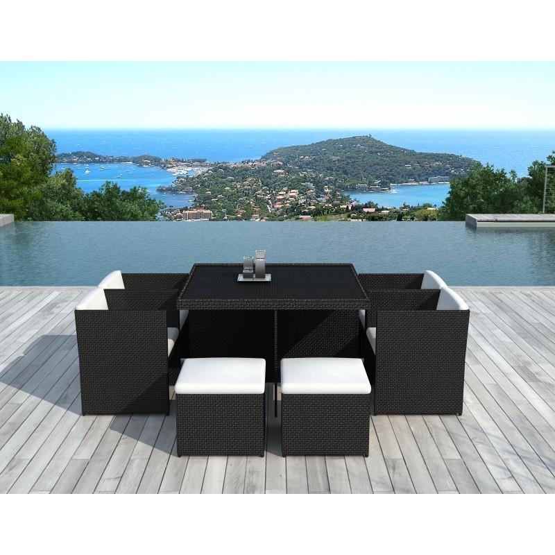 Salon de jardin 8 places encastrable UBEDA en résine tressée (noir, coussins blanc/écru) - image 29965