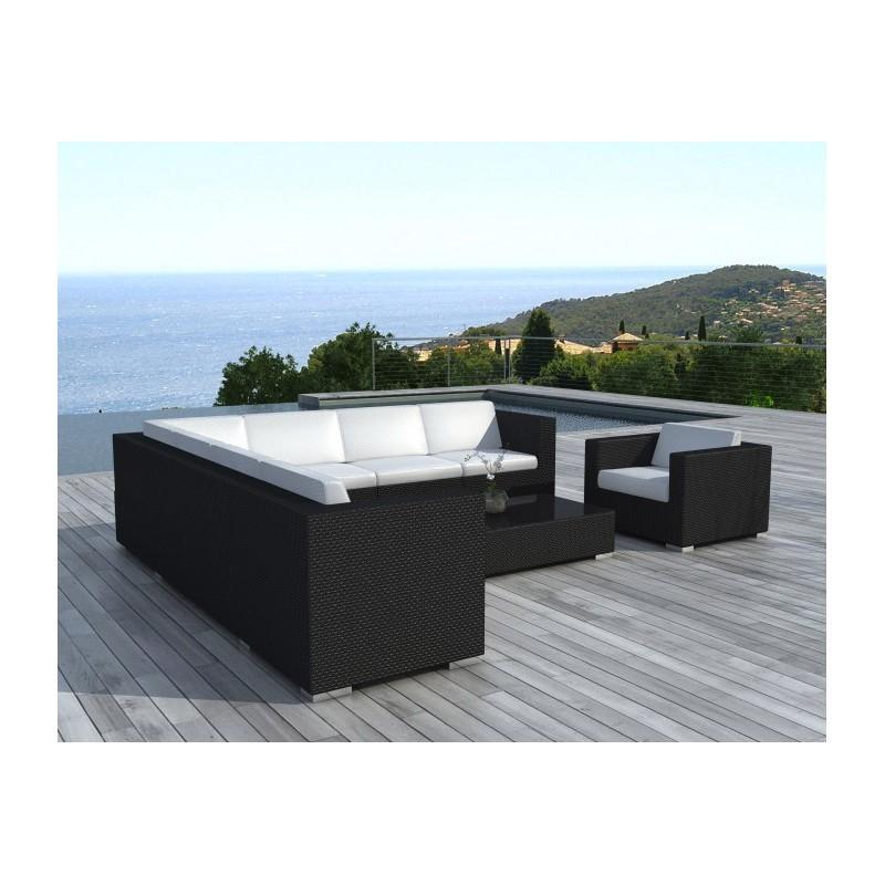 Salon de jardin d'angle 8 places OVIEDO en résine tressée (noir, coussins blanc/écru) - image 29969