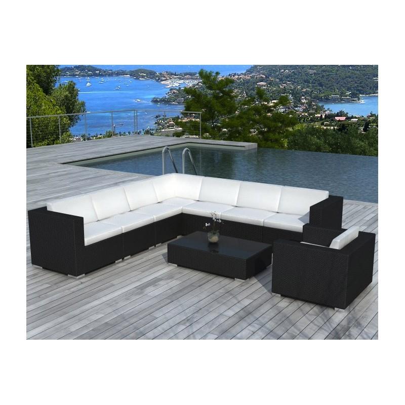 Salon de jardin d'angle 8 places OVIEDO en résine tressée (noir, coussins blanc/écru) - image 29970