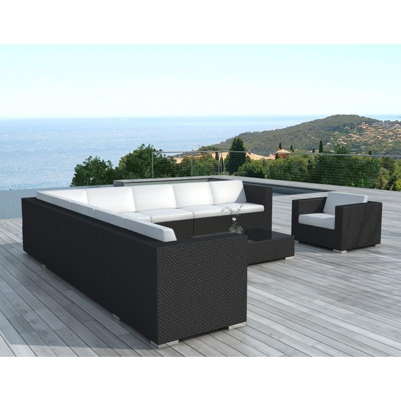 Salon de jardin d'angle 10 places LOUM en résine tressée (noir, coussins blanc/écru) - image 29973