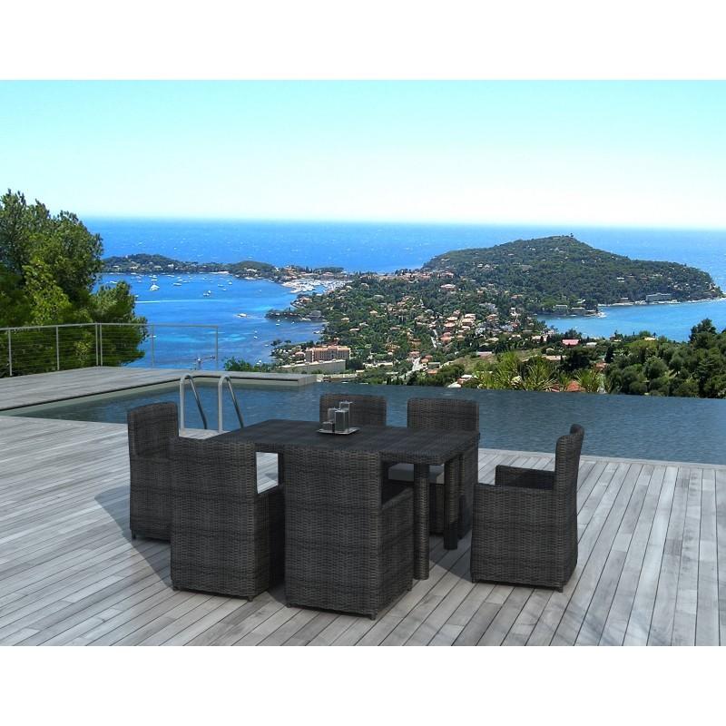 Table à manger et 6 chaises de jardin MORA en résine tressée (gris) - image 29979