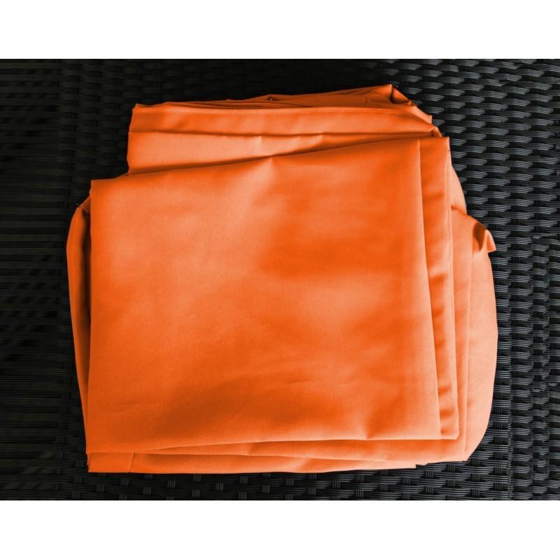Salon de jardin 6 places KUMBA en résine tressée (noir, coussins orange) - image 29986