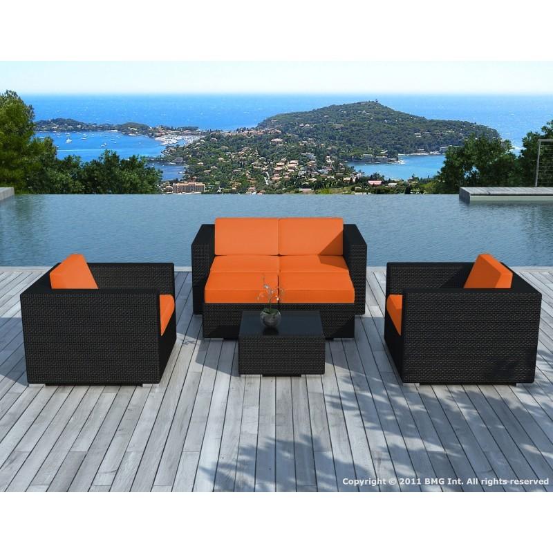 Salon de jardin 6 places KUMBA en résine tressée (noir, coussins orange) - image 29987