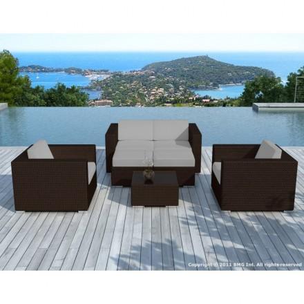 Resina de muebles de jardín 6 plazas KUMBA trenzado (marrón, cojines gris)