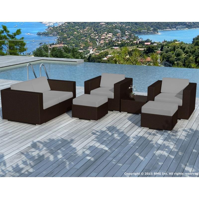 Salon de jardin 6 places KUMBA en résine tressée (marron, coussins gris) - image 29990