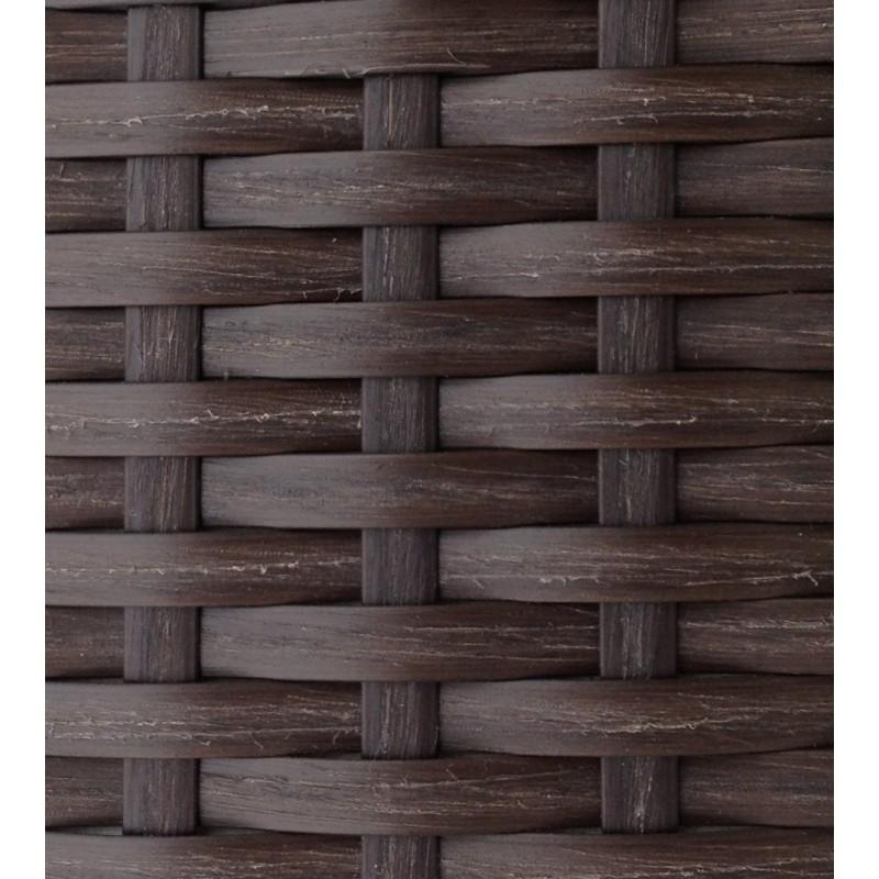 Salon de jardin 6 places KUMBA en résine tressée (marron, coussins gris) - image 29991