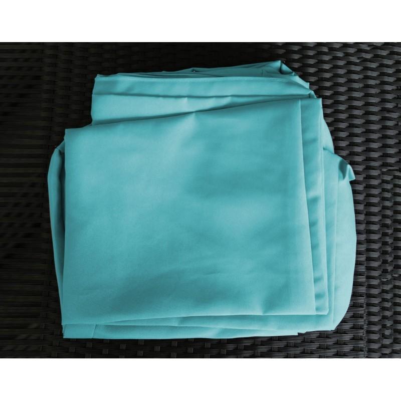 Salon de jardin 6 places KUMBA en résine tressée (marron, coussins bleus) - image 29993