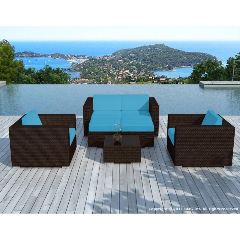 Salon de jardin 6 places KUMBA en résine tressée (marron, coussins bleus) - image 29995