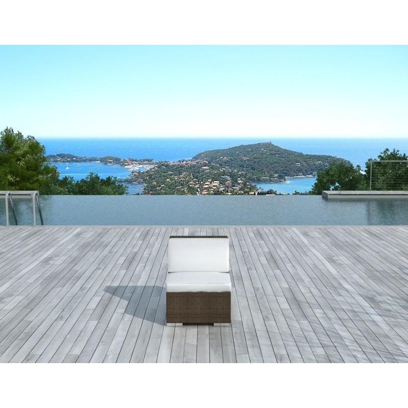 Chauffeuse de jardin SALOU en résine tressée (marron, coussins blanc/écru) - image 30000