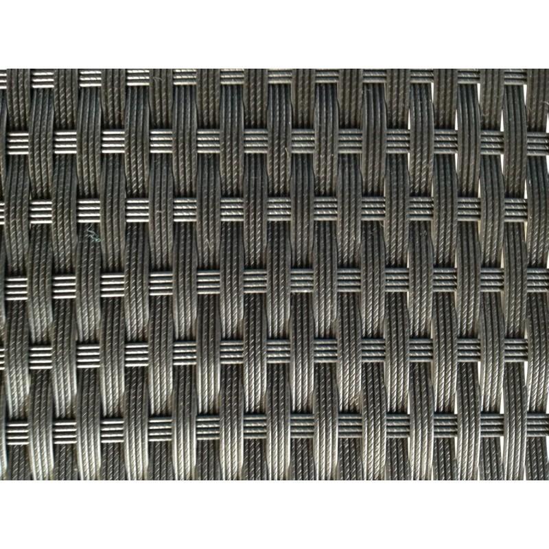 Table à manger et 6 fauteuils de jardin encastrable KRIBOU en résine tressée (noir, coussins blanc/écru) - image 30004