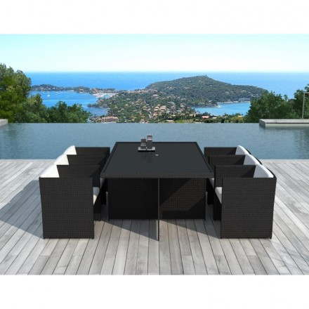 Dining table and 6 chairs built-in Garden KRIBOU in woven resin (black, white/ecru cushions)