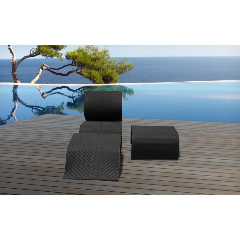 Ensemble transat et table basse de jardin CABO en résine tressée (noir) - image 30008