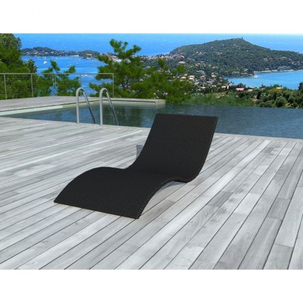 Sunbathing sunbed GIRONA in woven resin (black)