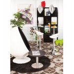 ALLIER Stool round in ABS (high-strength polymer) and chrome metal (white)