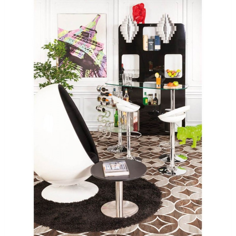 ALLIER Stool round in ABS (high-strength polymer) and chrome metal (white) - image 30026