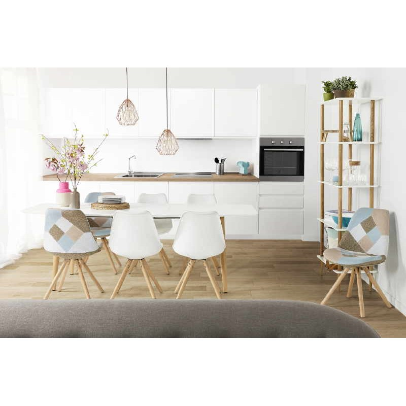 Chair patchwork style Scandinavian BOHEMIAN fabric (blue, grey, beige) - image 30044