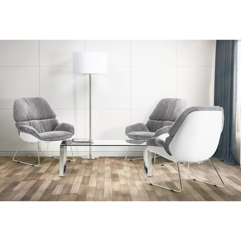 fauteuil lounge design lilou en tissu gris clair. Black Bedroom Furniture Sets. Home Design Ideas