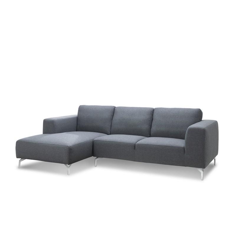 Canapé d'angle côté Gauche design 4 places avec méridienne  ORIANE en tissu (gris) - image 30113