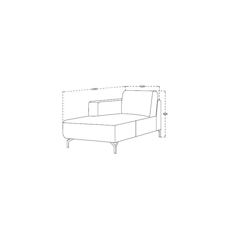 Canapé d'angle côté Gauche design 4 places avec méridienne  ORIANE en tissu (gris) - image 30119