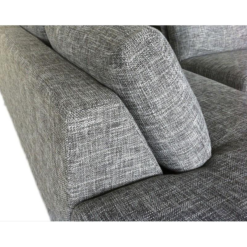 Canapé d'angle côté Droit design 5 places avec méridienne JUSTINE en tissu (gris clair chiné) - image 30125