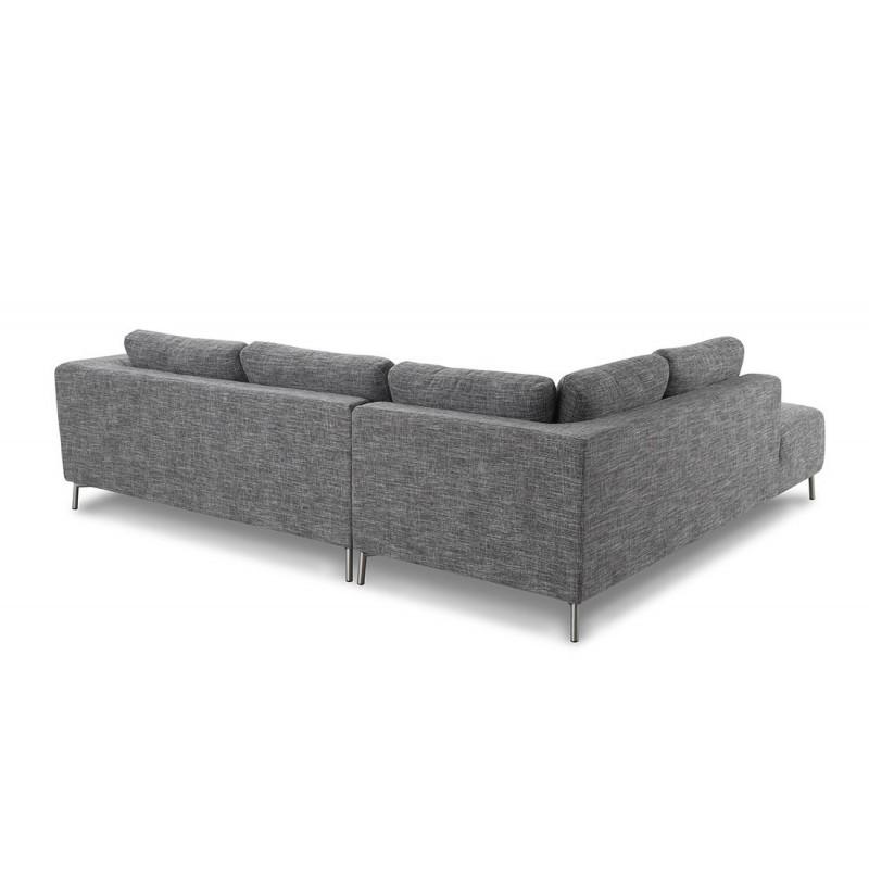 Canapé d'angle côté Gauche design 5 places avec méridienne JUSTINE en tissu (gris clair chiné) - image 30126