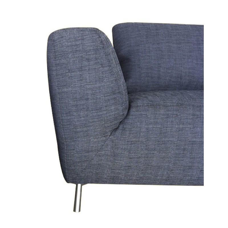 Canapé d'angle côté Droit design 5 places avec méridienne JUSTINE en tissu (gris foncé) - image 30135