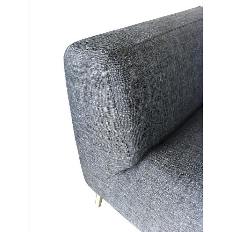 Canapé d'angle côté Droit design 5 places avec méridienne JUSTINE en tissu (gris foncé) - image 30137