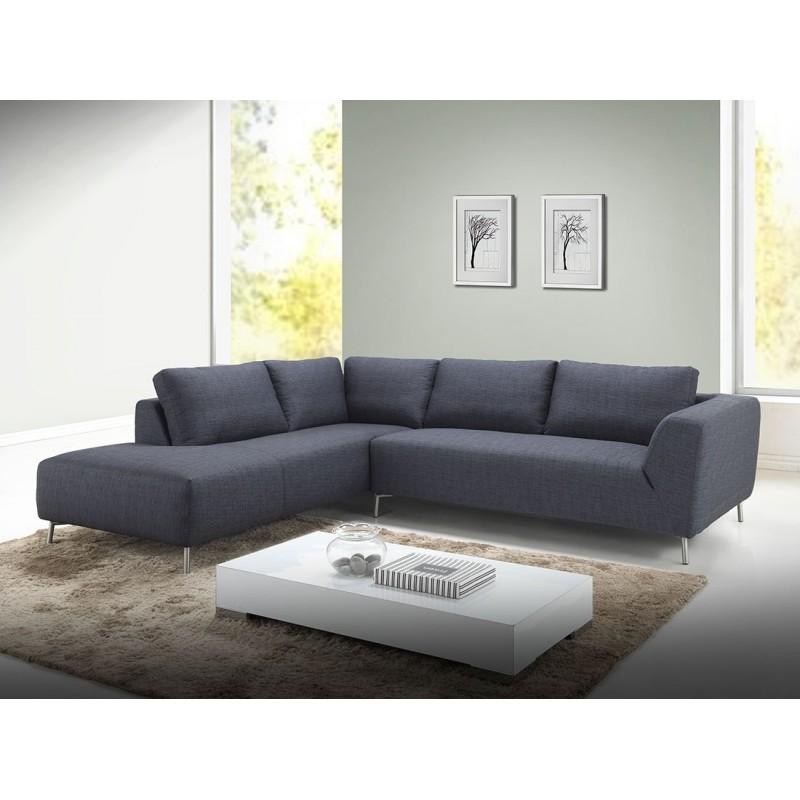 Canapé d'angle côté Gauche design 5 places avec méridienne JUSTINE en tissu (gris foncé) - image 30138