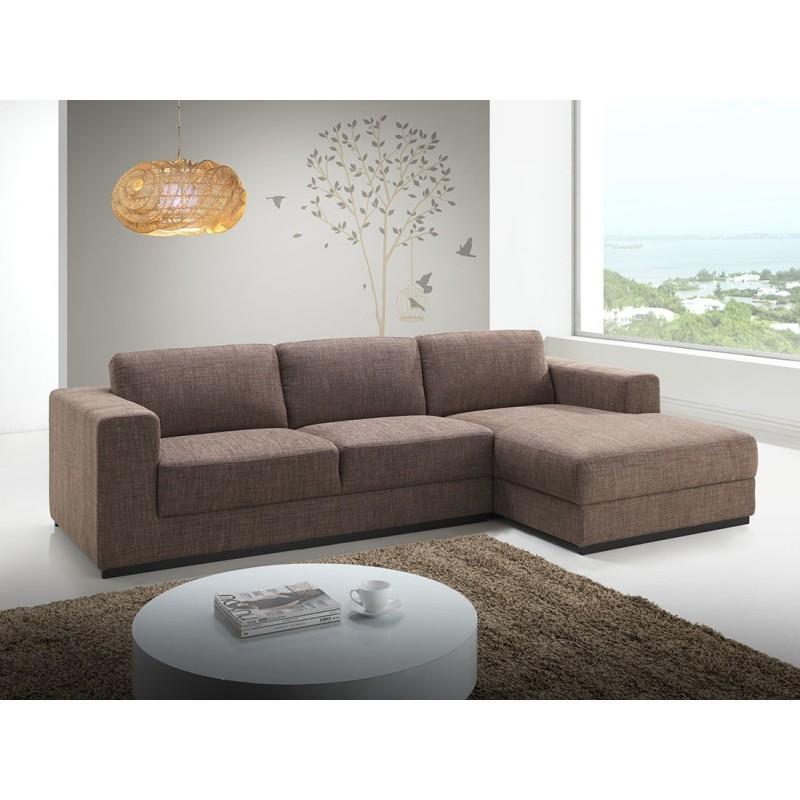 Canapé d'angle côté Droit design 4 places avec méridienne MAGALIE en tissu (marron) - image 30150