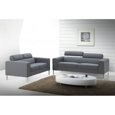 Fijo a plazas de diseño 3 derecha sofá tela CHARLINE (gris)