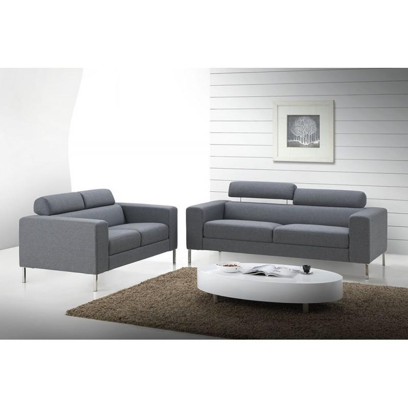 Canapé droit fixe design 3 places CHARLINE en tissu (gris) - image 30162