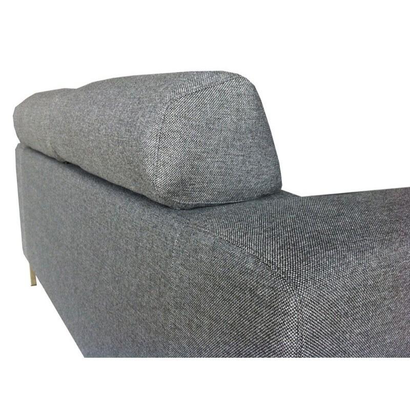 Canapé droit fixe design 2 places CHARLINE en tissu (gris) - image 30170